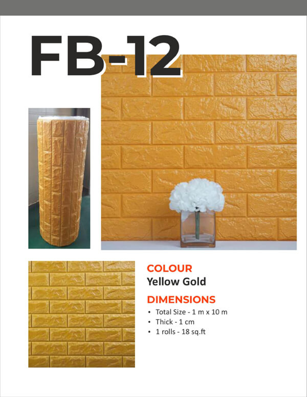 3D Foam Bricks Self Adhesive- Yellow Gold