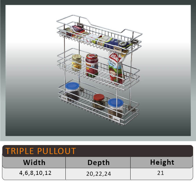 Jaguar Three Shelf Pullout Kitchen Basket