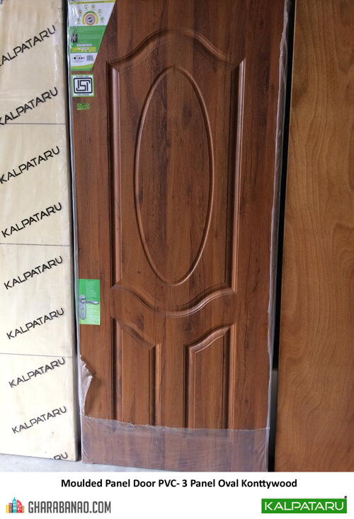 Kalpataru Moulded Panel Door PVC 3 Panel Oval Konttywood