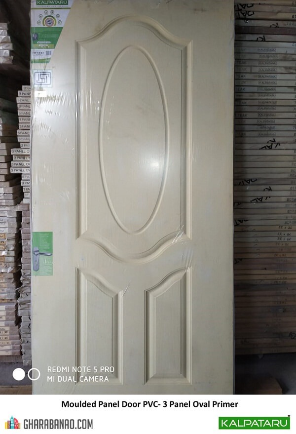 Kalpataru- Moulded Panel Door PVC- 3 Panel Oval Primer