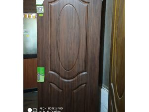 Kalpataru- Moulded Panel Door PVC- 3 Panel Oval Redwalnut