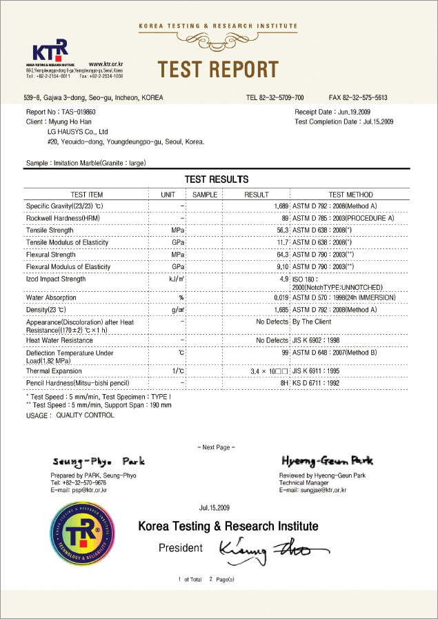 Test Certificate for LG Hausys Hi-Macs Acrylic Solid Surface